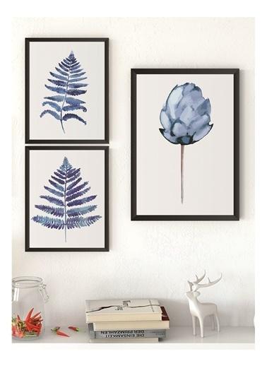 Lyn Home & Decor Mavi Lotus Seri Çerçeveli Poster 3 Lü Tablo 1 Adet 23,5X33,5 2 Adet 17,5X23,5 Siyah